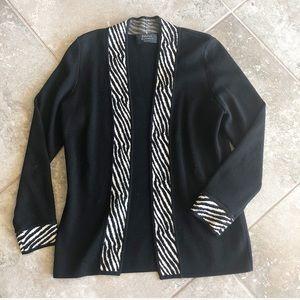 Dana Buchman 100% merino wool black cardigan